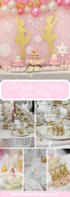 A magical Nutcracker Birthday Tea Party: Flower crowns, snow globes, snowflake wands, pearls, nutcrackers, ballet dancing, and a guest performance by the real Sugar Plum Fairy.