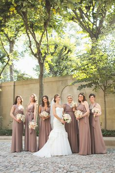 Taupe Bridesmaids Dresses with Ivory + Peach Bouquet. See the wedding on #smp here: http://www.StyleMePretty.com/mid-atlantic-weddings/2014/04/16/elegant-meridian-house-wedding/ Photography: MariaVicencio.com