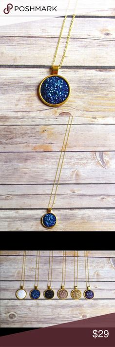 """Gold Blue Pendant Necklace 25mm Druzy pendant on a 30"""" gold chain. Nickel and lead compliant.  No trades. Price firm unless bundled. Jewelry Necklaces"""