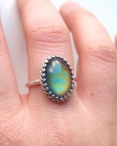 Mood Ring with Vintage Stone Sterling Silver Crown by proteales