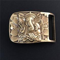 Solid Brass Elephant Belt Buckle Cowboy Jeans Belt Diy Accessories TOP Quality Mens Belts Luxury Punk Buckle Male Strap BK0072