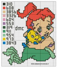 49 Ideas for baby crochet disney punto croce Machine Embroidery Applique, Embroidery Patterns Free, Cross Stitch Embroidery, Mermaid Cross Stitch, Cross Stitch Baby, Disney Cross Stitch Patterns, Cross Stitch Designs, Pixel Crochet, Crochet Disney