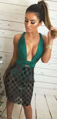 #winter #outfits green plunging-neckline sleeveless mini dress