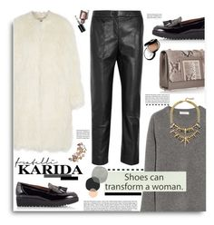 """FratelliKarida.com: Shoes can transform a woman."" by hamaly ❤ liked on Polyvore featuring Equipment, Topshop Unique, DKNY, Fratelli Karida, Manolo Blahnik, Jimmy Choo, Bobbi Brown Cosmetics, Chantecaille, outfit and shoes"