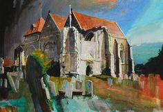 "Bob Rudd. ""St Thomas Winchelsea. Watercolour."