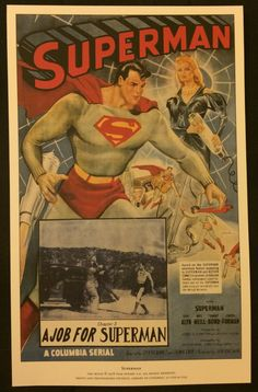 Superman - A Job for Superman Chapter 5  (1948) - Vintage Movie Posters High Quality Reprint on Italian Art Paper