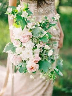 Soft and Ethereal pink and green bouquet