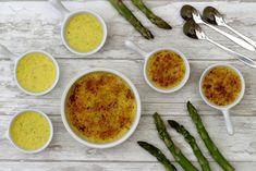 C'est la (courte) saison des asperges, j'en ai profité pour réaliser ces crèmes brûlées salées aux asperges et parmesan, un vrai délice! Vous pouvez les faire en version mini pour l'apéro ou plus grandes pour une entrée, j'ai testé les deux pour être...