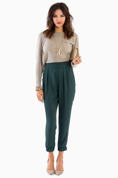 Colored harem pants with nude accents.