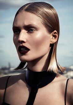 Blackberry lipstick. Toni Garrn by Driu & Tiago for Interview Russia April 2014