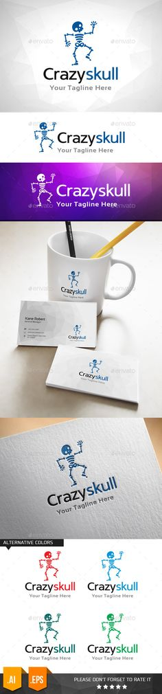Crazy Skull  - Logo Design Template Vector #logotype Download it here: http://graphicriver.net/item/crazy-skull-logo-template/11031686?s_rank=1283?ref=nexion