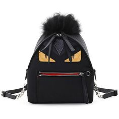 Fendi Mini Monster Mohawk Backpack ($2,615) ❤ liked on Polyvore featuring bags, backpacks, backpack, black, rucksack bag, mini rucksack, knapsack bag, fendi backpack and mini chain bag