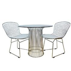 Amazon.com - ModMade 3 Piece Nat Chromed Steel Dining Set, Silver Table/White Chairs - Table & Chair Sets