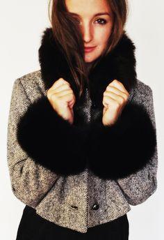 Vintage 1960's Cropped Tweed Fox Fur Coat by VUVintage