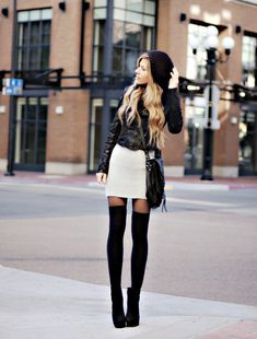 Tights, knee high socks + white skirt + silk blazer + leather biker + beanie + booties Sam black
