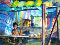 Fruit Stand Samoa watercolor painting