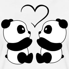 Pandalove Design. More at http://shop.spreadshirt.net/SweetAndMagic/ #Panda #Love #Herz #black and white