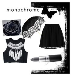 """Monochromatic masterpiece"" by kyleistigger ❤ liked on Polyvore featuring Lancôme, even&odd, WithChic, MAC Cosmetics and monochrome"