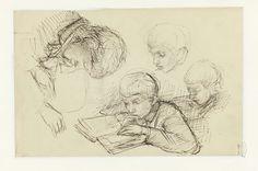 Vier studies van een lezende jongen, Jozef Israëls, 1834 - 1911