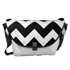 Black White Chevron Zigzap Pattern Courier Bag