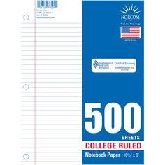 Norcom 500-Sheet Filler Paper, College Rule - Walmart.com