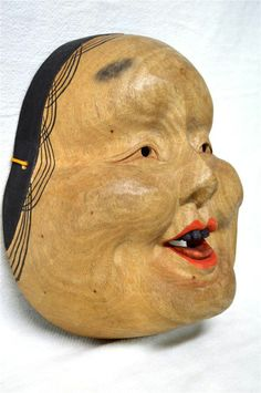 Wooden! Japanese Traditional Noh Mask OKAME Woman Kabuki Kagura Bugaku Demon