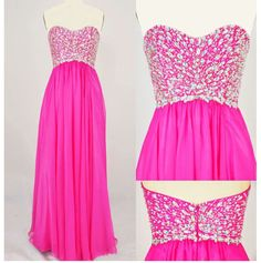 Hot Pink and Sparkly Prom Dress