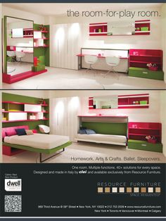 Pink lime green office pull out bed