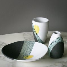 Ettore Sottsass -  Lava Glaze -   Bitossi, Montelupo - 1955   The two vases and the plate offered belong to a limited edition of 'lava glaze' ceramic objects commissioned by the prominent Dutch department store 'De Bijenkorf' and were manufactured by Bitossi (Montelupo) around 1958.