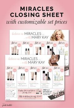 Believe in Miracles with Mary Kay Closing Set Sheet! Find it only at www.thepinkbubble.co!