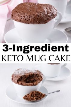 Wishing for a sweet treat while on your ketogenic diet? Try this three ingredient keto mug cake that is quick and easy to make in a microwave and tastes SO GOOD. This is the best keto chocolate mug cake recipe you will ever try! Keto Desserts To Buy, Quick Keto Dessert, Healthy Dessert Recipes, Low Carb Chocolate Cake, Flourless Chocolate Cakes, Chocolate Mug Cakes, Best Mug Cake Recipe Ever, Best Mug Cake Recipes, Keto Mug Bread