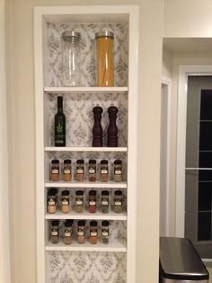 Between the studs spice cupboard with wallpaper. There will be a door once I finish painting it. But kind of enjoying it like this for now. Cubbies, Shelves, Cabinet Making, Pantry Ideas, Cabinet Ideas, Kitchen Redo, Home Decor Inspiration, Bathroom Medicine Cabinet, Cupboard