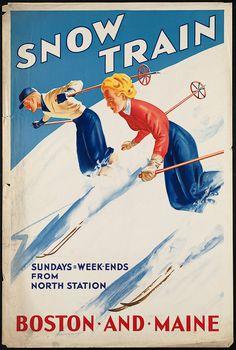 "1920s ""Ski Jumping"" North Shore Line Vintage Wisconsin Ski Snow Poster 16x24"