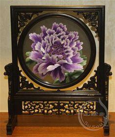 蓝紫牡丹 双面刺绣