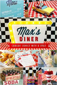 Love retro décor, props, music and food? This diner-inspired boy's birthday party is full of great inspiration for your son's next birthday party! Retro Birthday Parties, 50s Theme Parties, Adult Party Themes, 60th Birthday Party, 50th Party, 1st Boy Birthday, Birthday Crafts, Diner Party, Retro Party