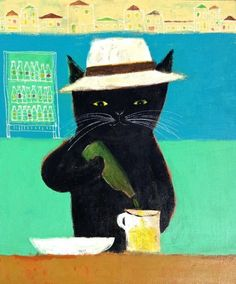 "pepeart: ""Vacation of a black cat """