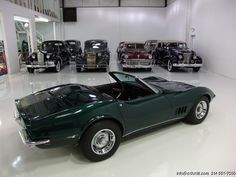 1968 CHEVROLET CORVETTE COPO CONVERTIBLE SPECIAL COPO ORDER BRITISH GREEN WITH TOBACCO INTERIOR! ORIGINAL DEALER INVOICE! ORIGINAL OWNER'S MANUAL IN ORIGINAL SLEEVE! ALL REGISTRATIONS FROM 1968-2002! BELIEVED TO BE ONE OF ONE IN THIS COLOR...