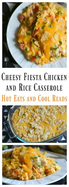 A delicious and family friendly casserole! Perfect for those busy weeknights or even Sunday dinner! Budget friendly too! Cheesy Fiesta Chicken and Rice Casserole Recipe from Hot Eats and Cool Reads #BensBeginners #UncleBensPromo @UncleBens