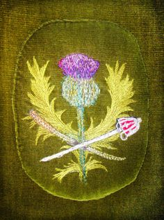 Embroidery on a cushion in St. Giles Cathedral, Edinburgh, Scotland.