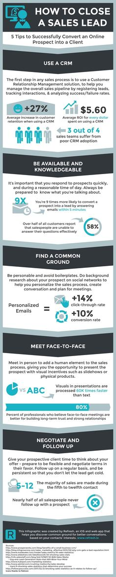 Close A Sales Lead In 5 Steps (Infographic) How To Close A Sales Lead In 5 Steps Let's say that your marketing team has already successfully executed their lead generation campaign, resulting in some interested prospects. The next step is to convert those Marketing Online, Sales And Marketing, Content Marketing, Internet Marketing, Inbound Marketing, Marketing Ideas, Business Management, Business Planning, Business Tips