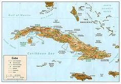 Map of Cuba,