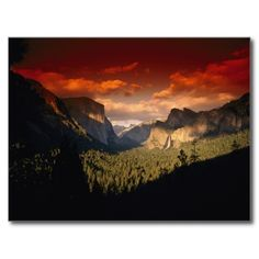 Sunset with a red filter, Yosemite National Park Post Card