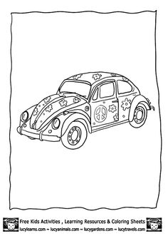 Hippie Beetle Car Drawing Hippystyle