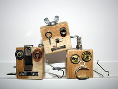 find all your random hardware that you have laying around (I know I have a big bagful), get some wood blocks, let the kids make robot faces!