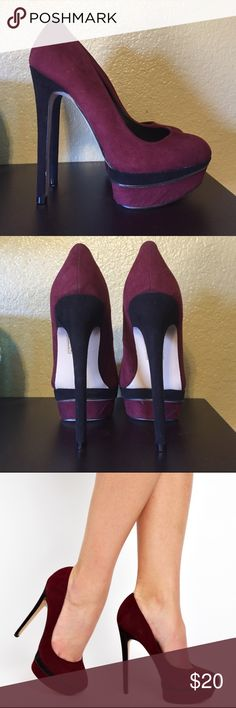 NEW oxblood ASOS PARADE UK sz 3 New Black and Oxblood platform faux suede pumps. UK Sz 3, fits like US 5.5. never worn (too small for me). Suede on platform is slightly bubbly (refer to pictures). Beautiful wine color! ASOS Shoes Heels
