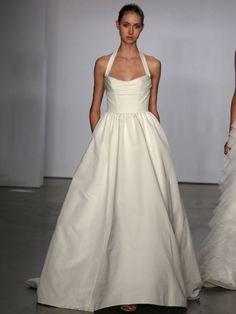 8e7355e332700 Simple A Line Halter Empire Wasit Satin Court Train Wedding Dress for  Brides [Ew-