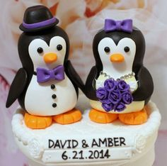READY to SHIP Penguin love Wedding Cake Topper. $60.00, via Etsy ...