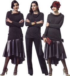 Sewing pattern to make a selection of 1920s inspired separates, including: - pullover top: close-fitting through bust, double layered collar - skirt has side zipper - straight-legged pants have back z