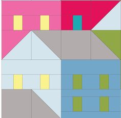 (7) Name: 'Quilting : Hillside Houses Block 7