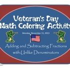 Perfect for Veteran's Day! 20 adding and subtracting fractions with unlike denominators tied into an American flag coloring picture!